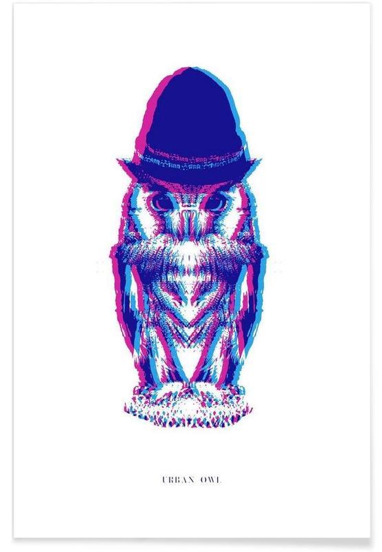 Ugler, Magenta Owl with cyan beanie Plakat