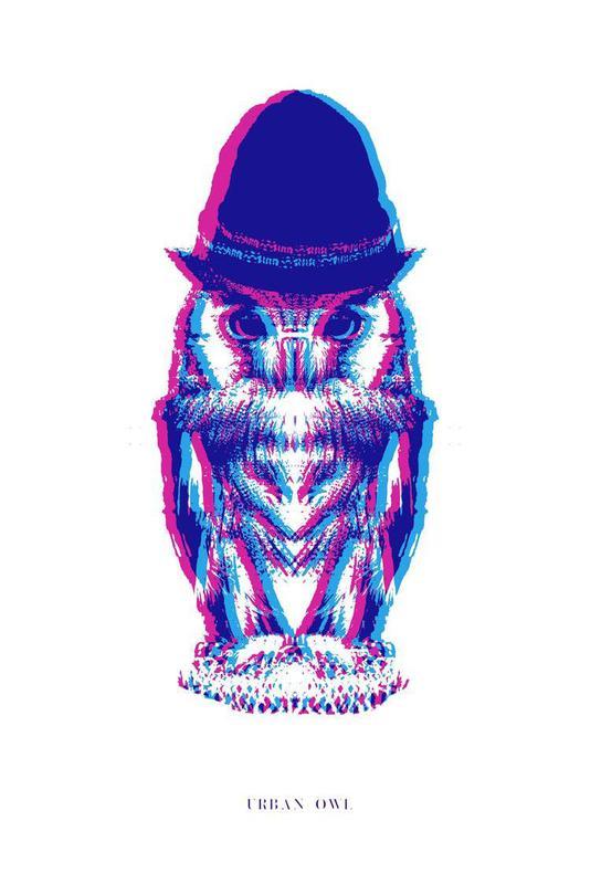 Magenta Owl with cyan beanie -Alubild