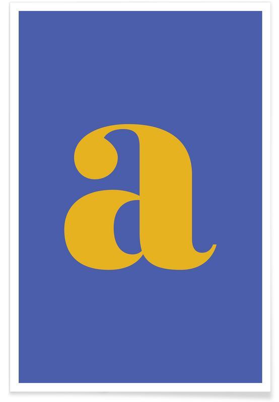 Alfabet og bogstaver, Blue Letter A Plakat