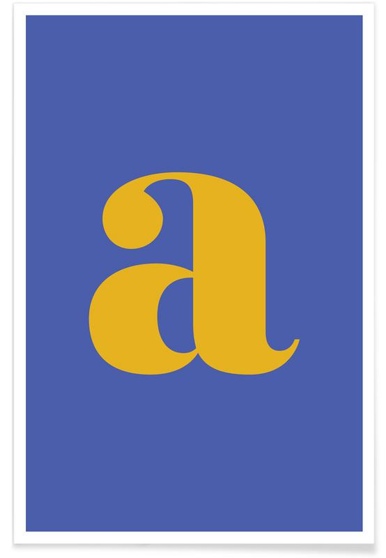 Blue Letter A Poster