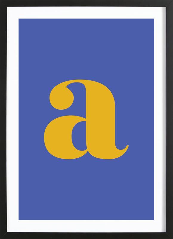 Blue Letter A -Bild mit Holzrahmen