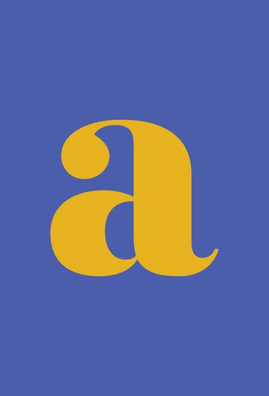 Blue Letter A tableau en verre
