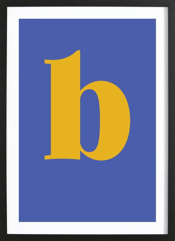 Blue Letter B affiche sous cadre en bois