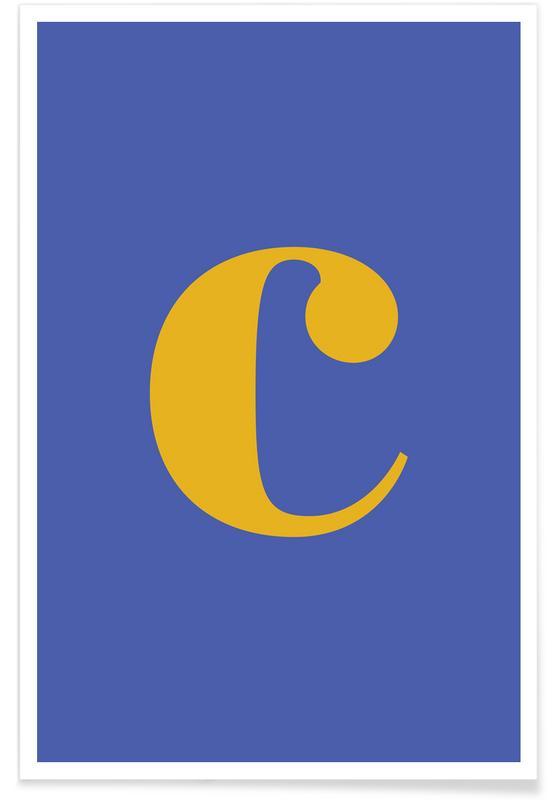 Blue Letter C Poster