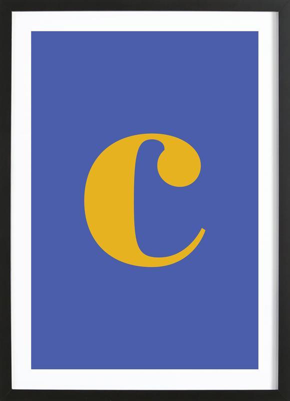Blue Letter C Poster i träram