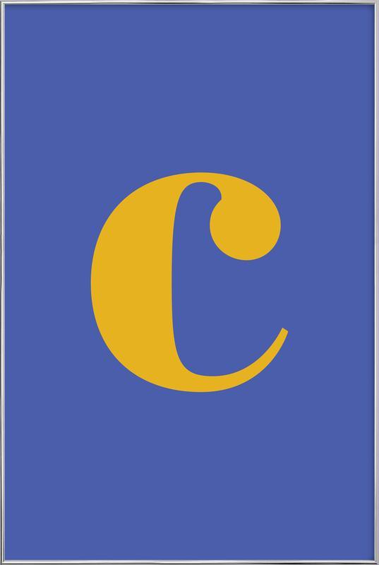 Blue Letter C Poster in Aluminium Frame
