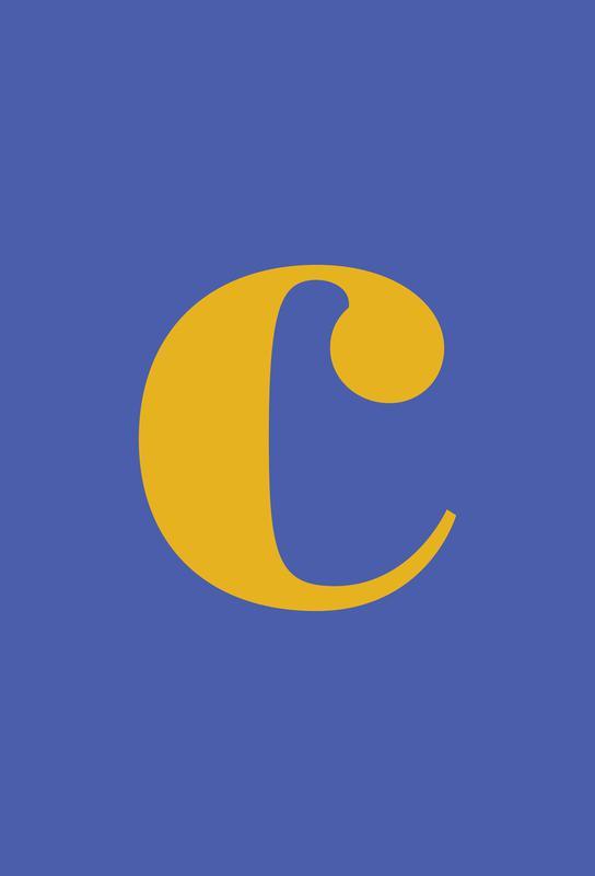 Blue Letter C tableau en verre