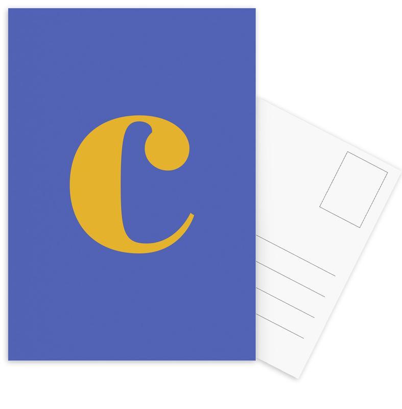 Blue Letter C cartes postales