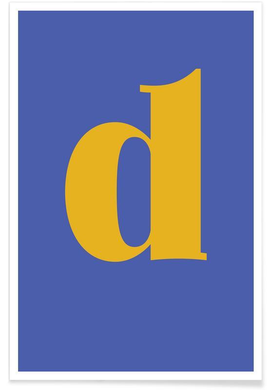 Alfabet og bogstaver, Blue Letter D Plakat