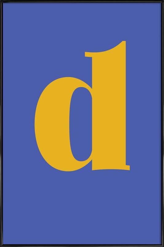 Blue Letter D Poster i standardram