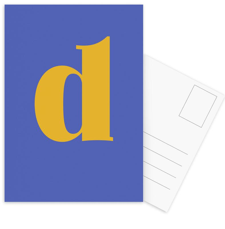 Blue Letter D cartes postales