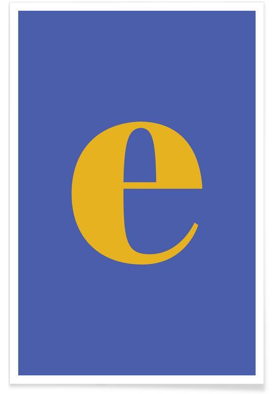 Abecedario y letras, Blue Letter E póster