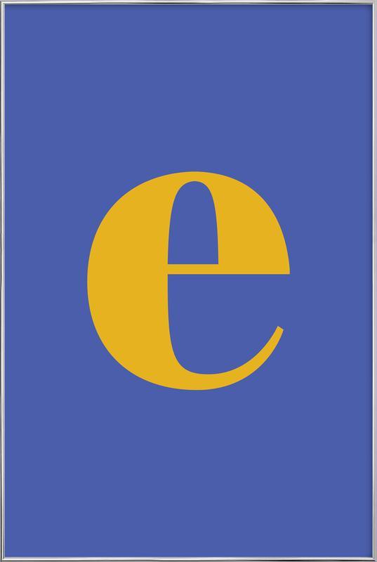 Blue Letter E affiche sous cadre en aluminium