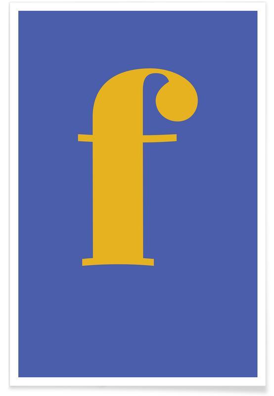 Alfabet og bogstaver, Blue Letter F Plakat
