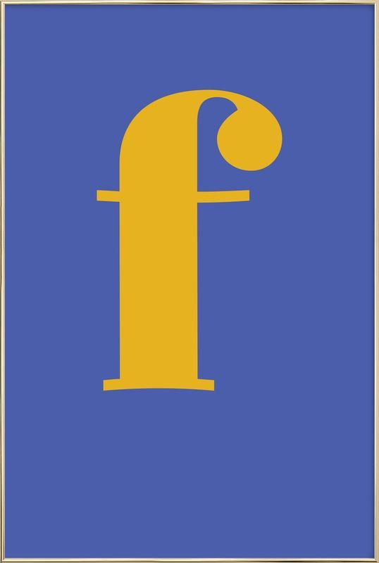 Blue Letter F poster in aluminium lijst