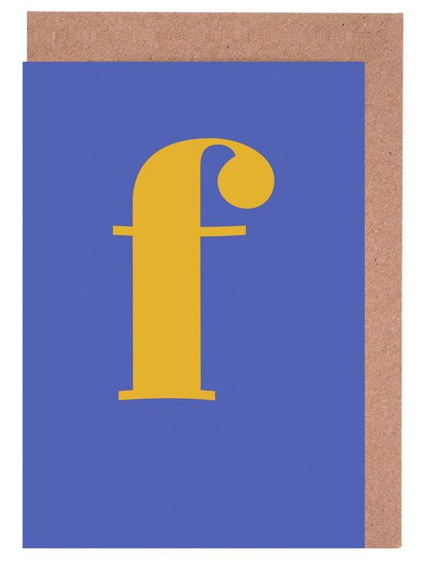 Blue Letter F -Grußkarten-Set