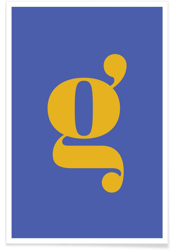 Alfabet og bogstaver, Blue Letter G Plakat
