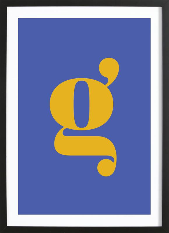 Blue Letter G Poster i träram