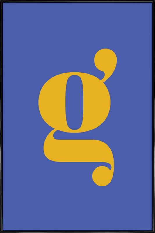 Blue Letter G Poster i standardram