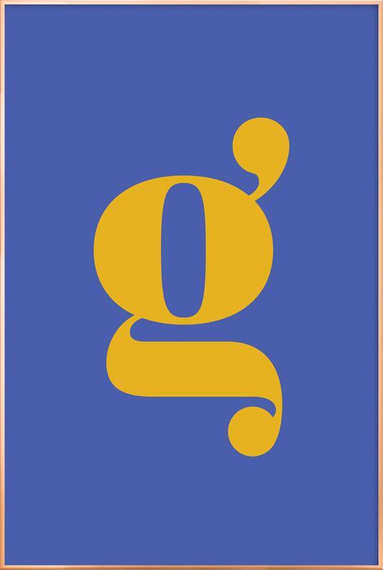 Blue Letter G poster in aluminium lijst