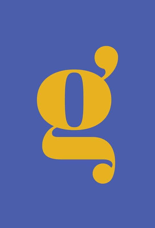 Blue Letter G Plakat af akrylglas