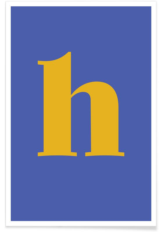 Alfabet og bogstaver, Blue Letter H Plakat