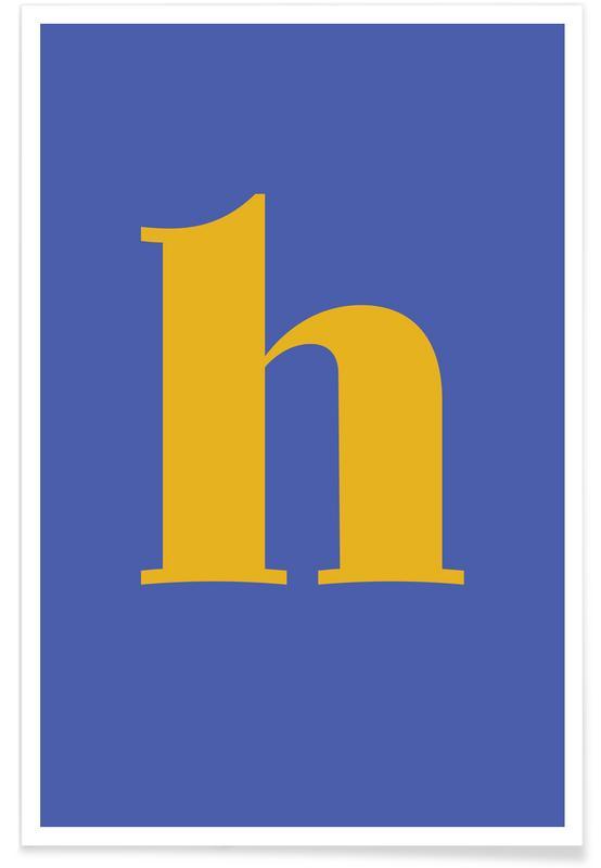 Alfabetet & bokstäver, Blue Letter H Poster
