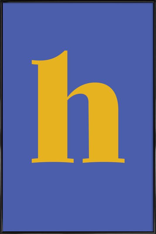 Blue Letter H affiche encadrée