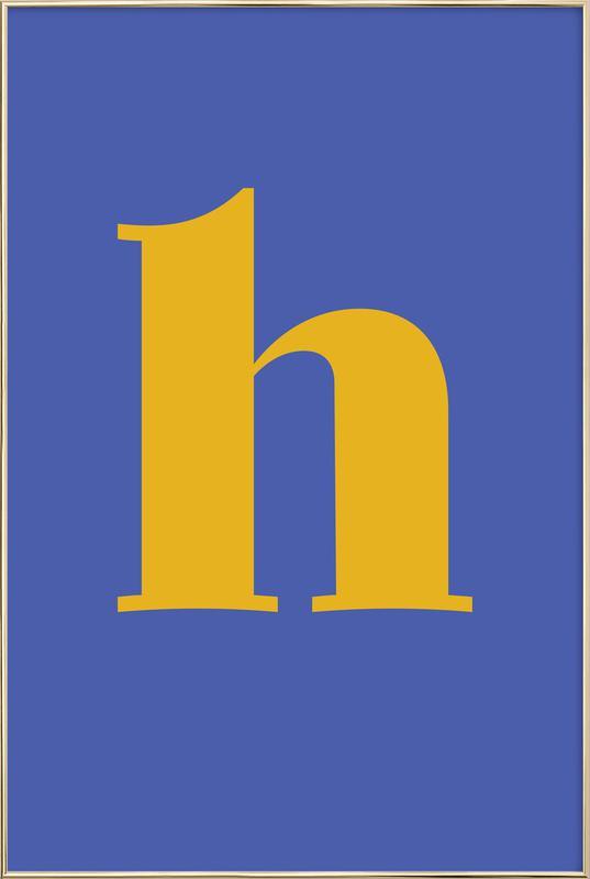 Blue Letter H Poster in Aluminium Frame