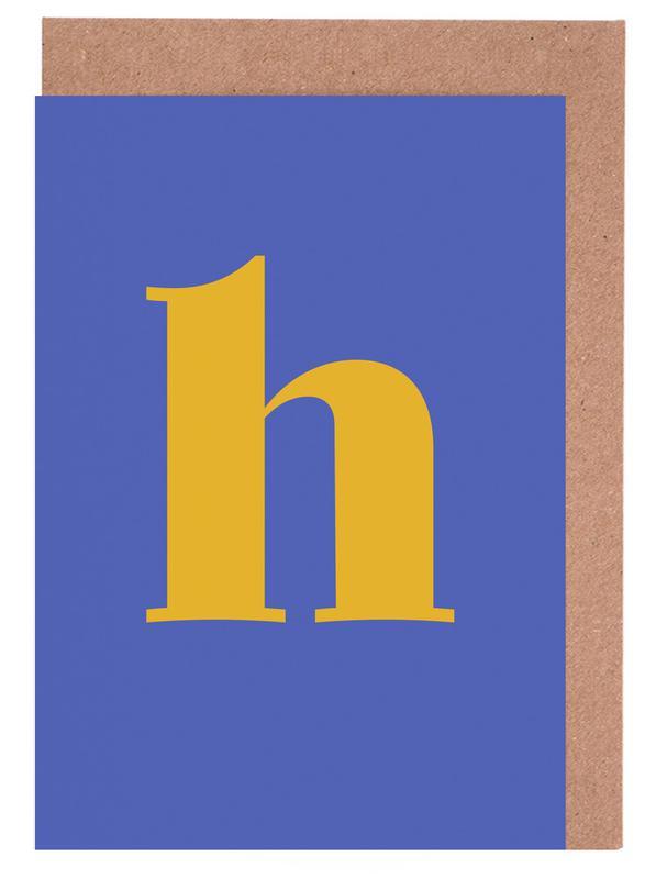Blue Letter H cartes de vœux