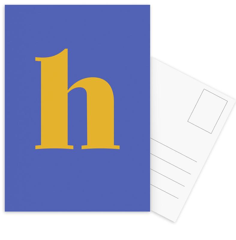 Blue Letter H Postcard Set