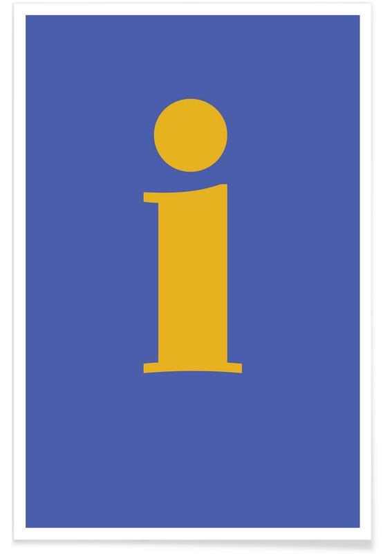 Blue Letter I poster