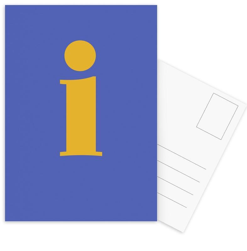 Blue Letter I -Postkartenset