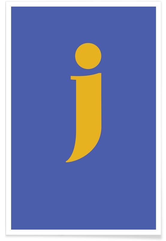 Alfabet og bogstaver, Blue Letter J Plakat