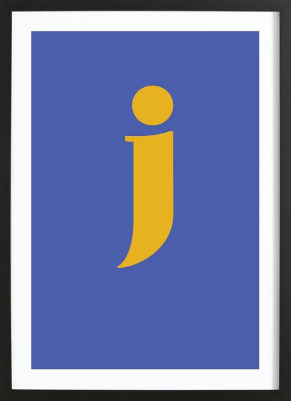 Blue Letter J -Bild mit Holzrahmen