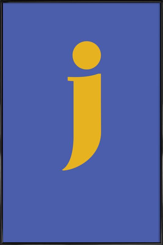 Blue Letter J -Bild mit Kunststoffrahmen