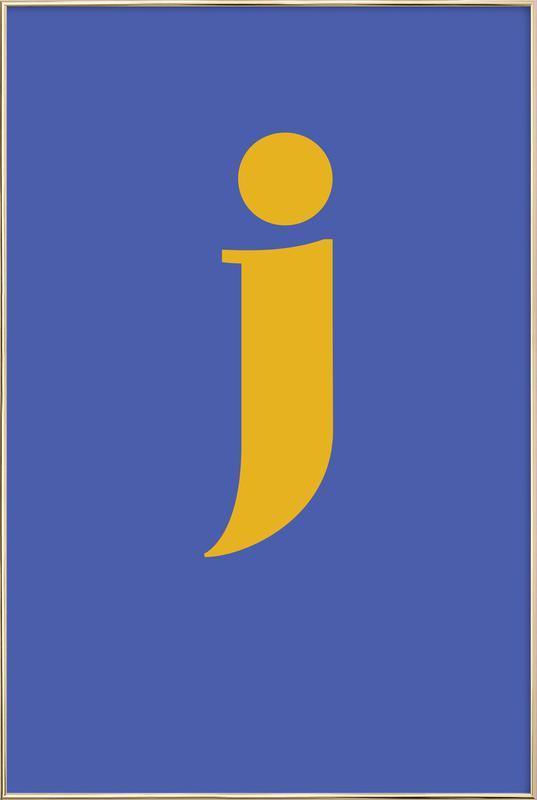 Blue Letter J poster in aluminium lijst