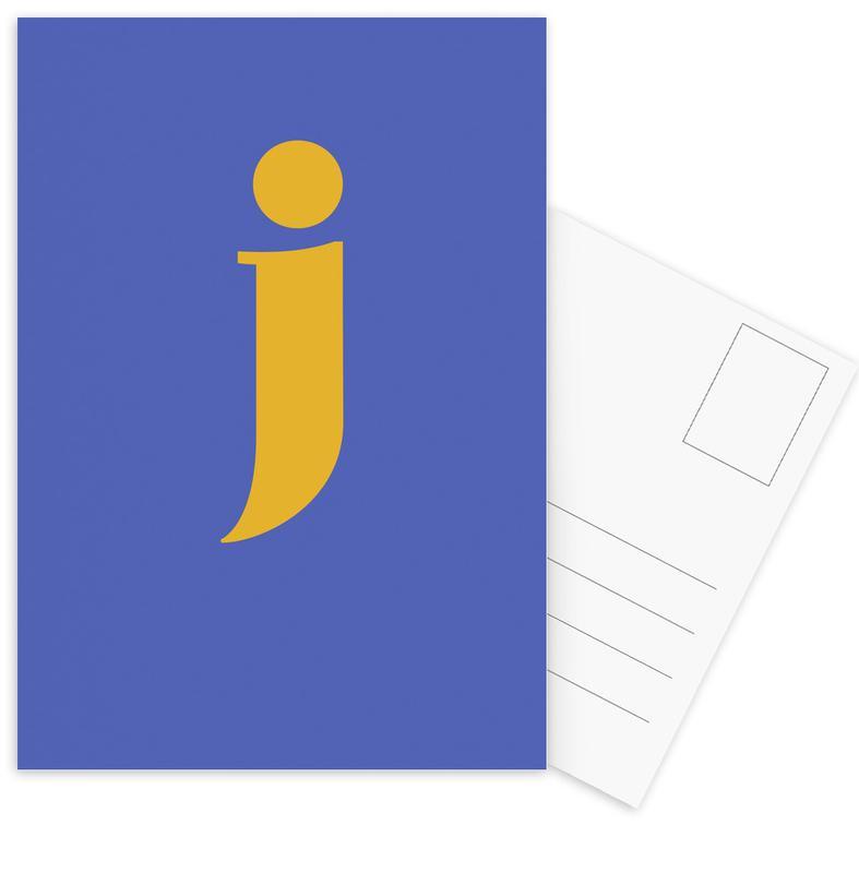 Blue Letter J Postcard Set