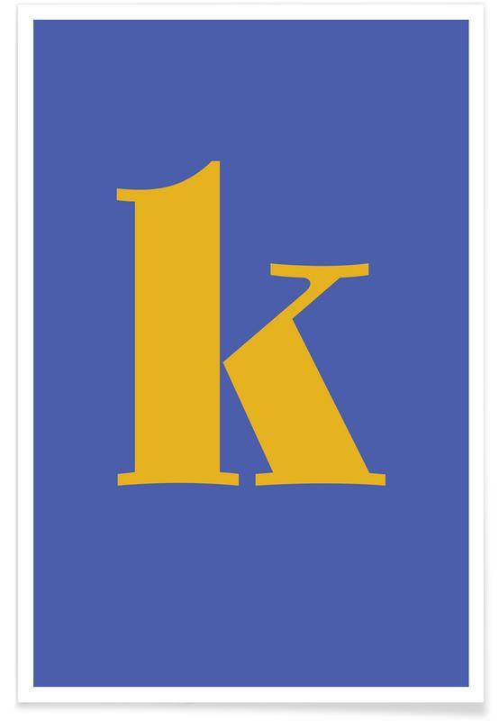 Alfabet og bogstaver, Blue Letter K Plakat