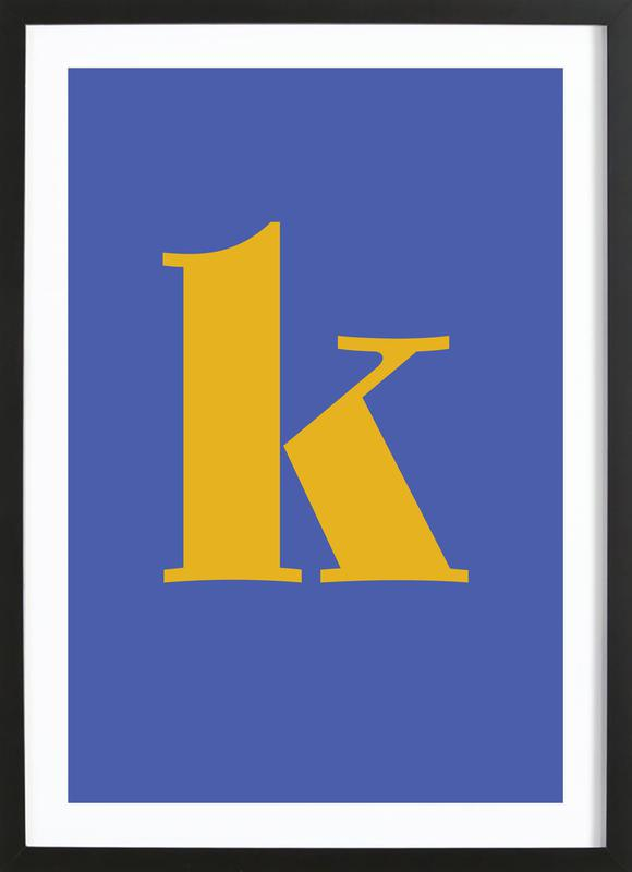Blue Letter K -Bild mit Holzrahmen
