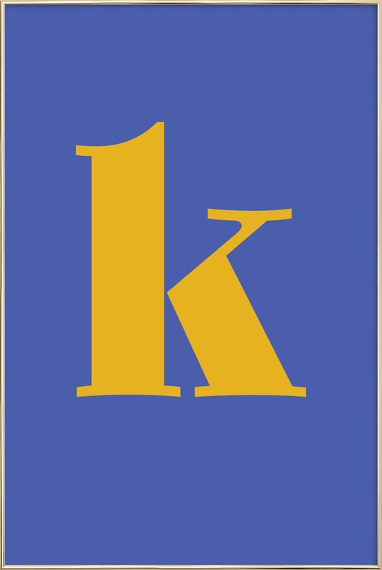 Blue Letter K -Poster im Alurahmen