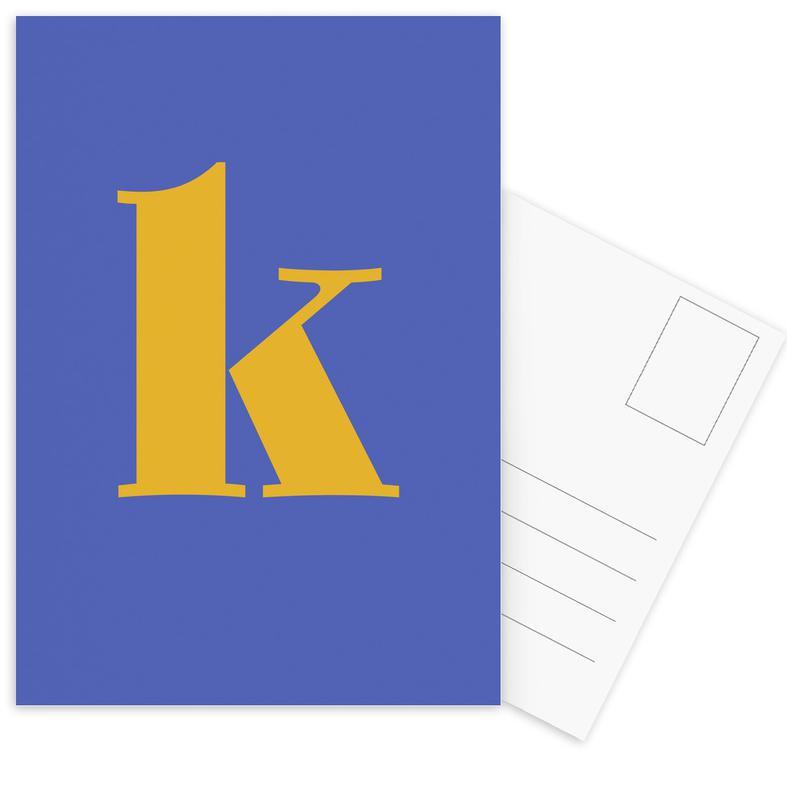 Blue Letter K cartes postales