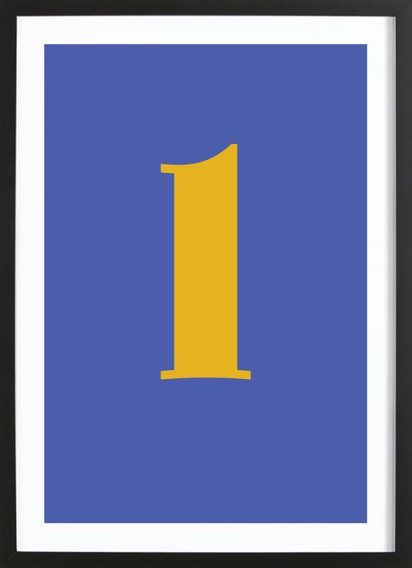 Blue Letter L Poster i träram