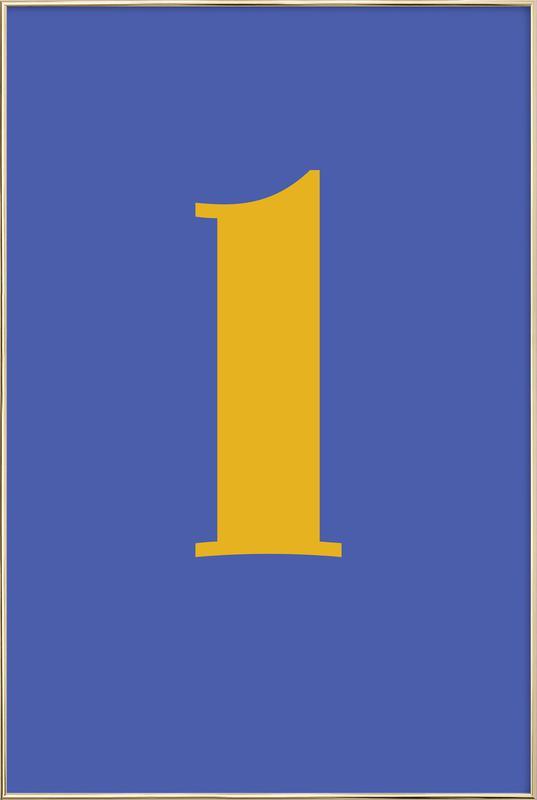 Blue Letter L affiche sous cadre en aluminium