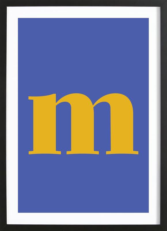 Blue Letter M affiche sous cadre en bois