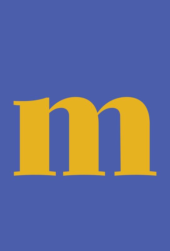 Blue Letter M tableau en verre