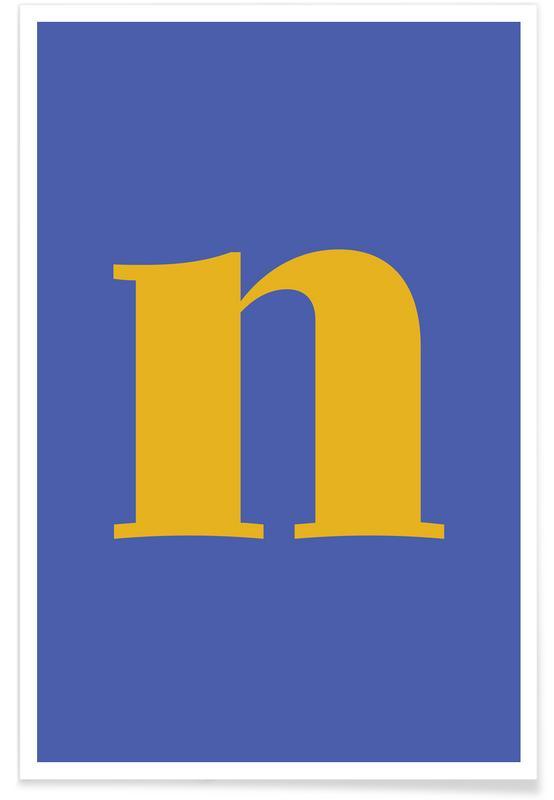 Alfabeto & lettere, Blue Letter N poster