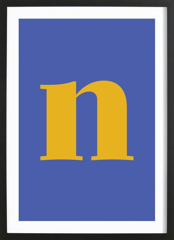 Blue Letter N affiche sous cadre en bois