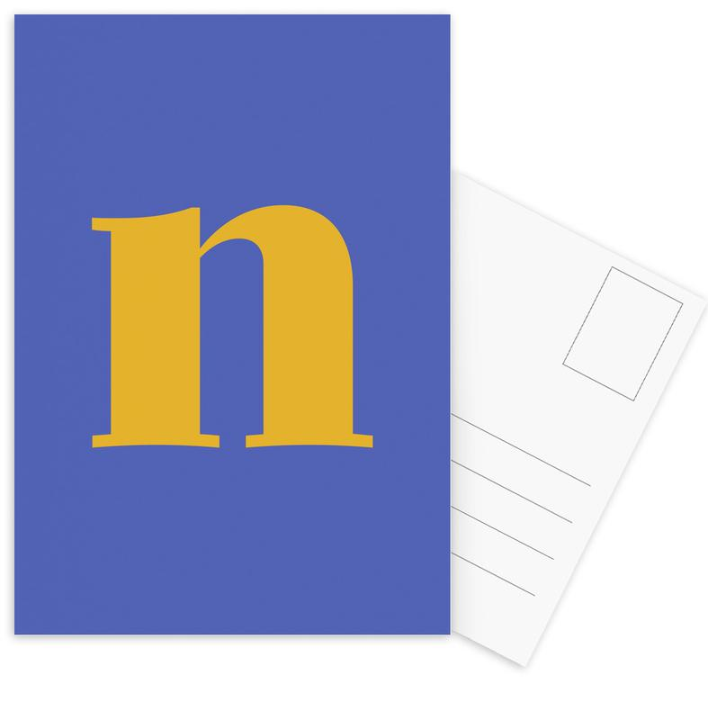 Blue Letter N cartes postales