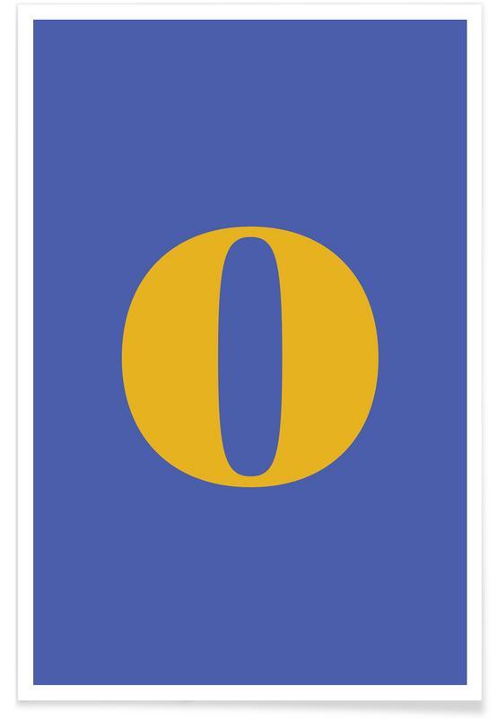 Alfabet og bogstaver, Blue Letter O Plakat